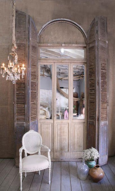 Recycling old doors into mirrors for Recycle old doors