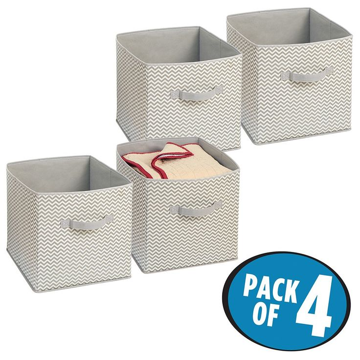 mDesign Chevron Fabric Closet/Dresser Drawer Storage Organizer, Cube for Toys, Sweaters, Accessories - Pack of 4, Taupe/Natural