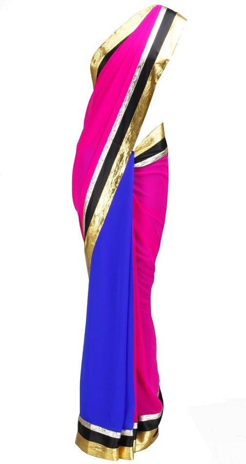 Blue, Pink saree with black satin border and embroidered gota triangles in the pallu.