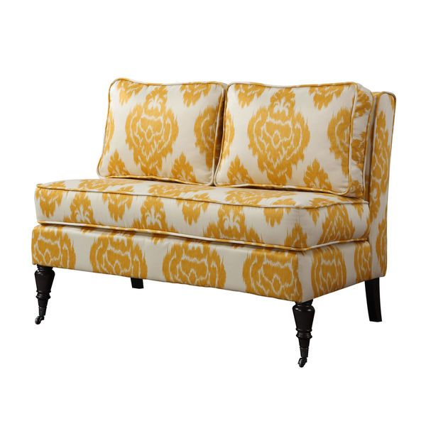 $350 free shipping Modern Contemporary Settee Love Seat Bench Yellow & Off White Caster Wheels NEW in Home & Garden, Furniture, Sofas, Loveseats & Chaises | eBay