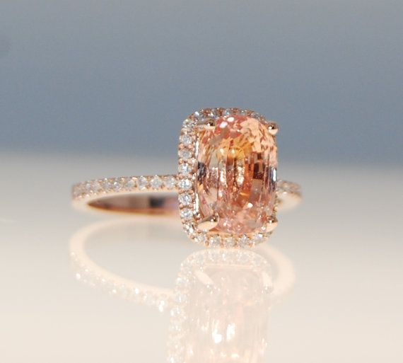 3 6ct cushion ginger Peach sapphire Champagne sapphire ring diamond ring 14k