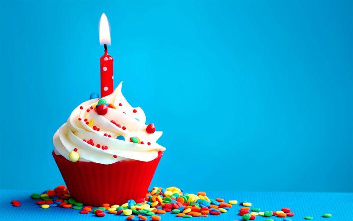 Herunterladen hintergrundbild happy birthday, urlaub, kuchen, gebäck, sahne, kerze, geburtstag