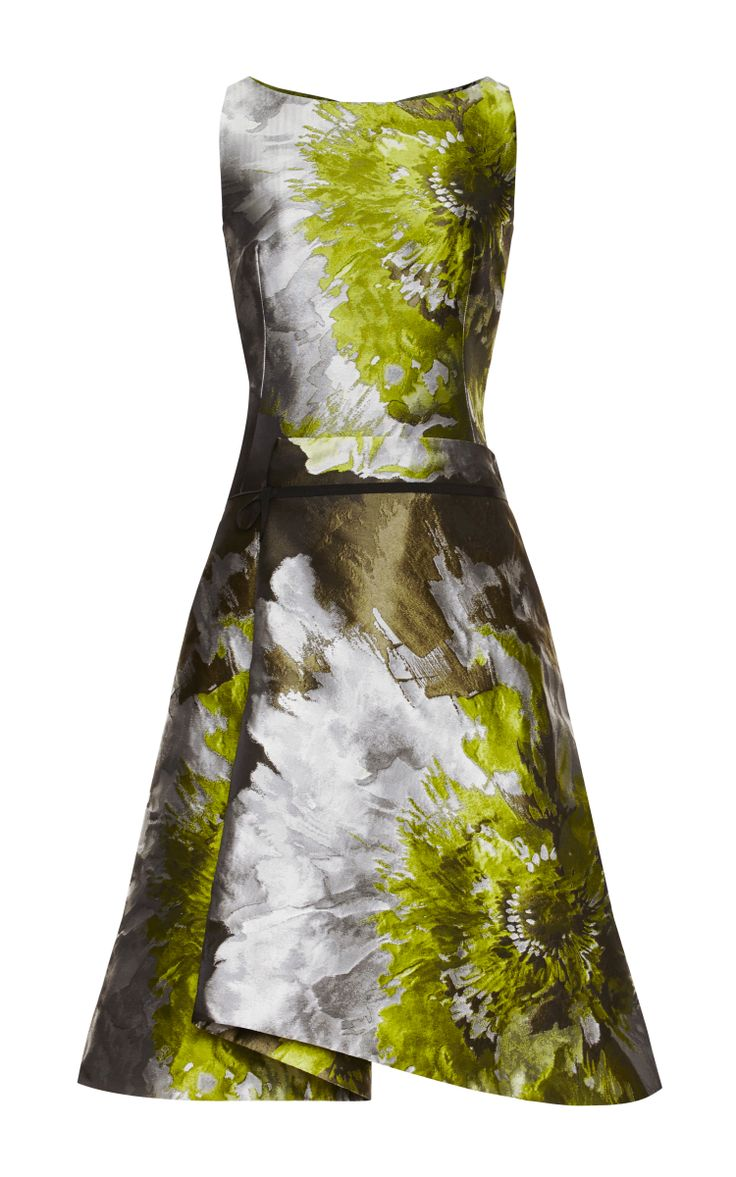 Carolina Herrera Floral Water Color Cocktail Dress