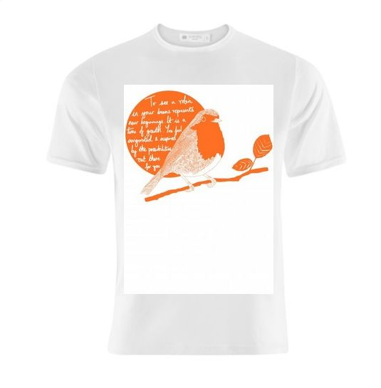 This artwork was inspired by Britain voting the robin as its national bird. Did you know that to see a robin in your dreams is a good omen? Tshirt £15 http://www.artrookie.co.uk/item.php?type=2&id=5063  #tshirt  #fashion #style #birthday #christmas #housewarming #goodluck  #house #home #robin #bird #garden #instaart #drawing #design #dailysketch #drawingaday #homeware #UK #independentdesigners #British #dreams #cuteanimals #birdvote #quote #inspirational #QOTD #print #cushion