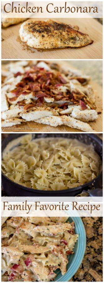 Mouthwatering and family friendly Chicken Carbonara Recipe! An easy way to create a gourmet chicken dinner! Plus great ways to save on buying Chicken!
