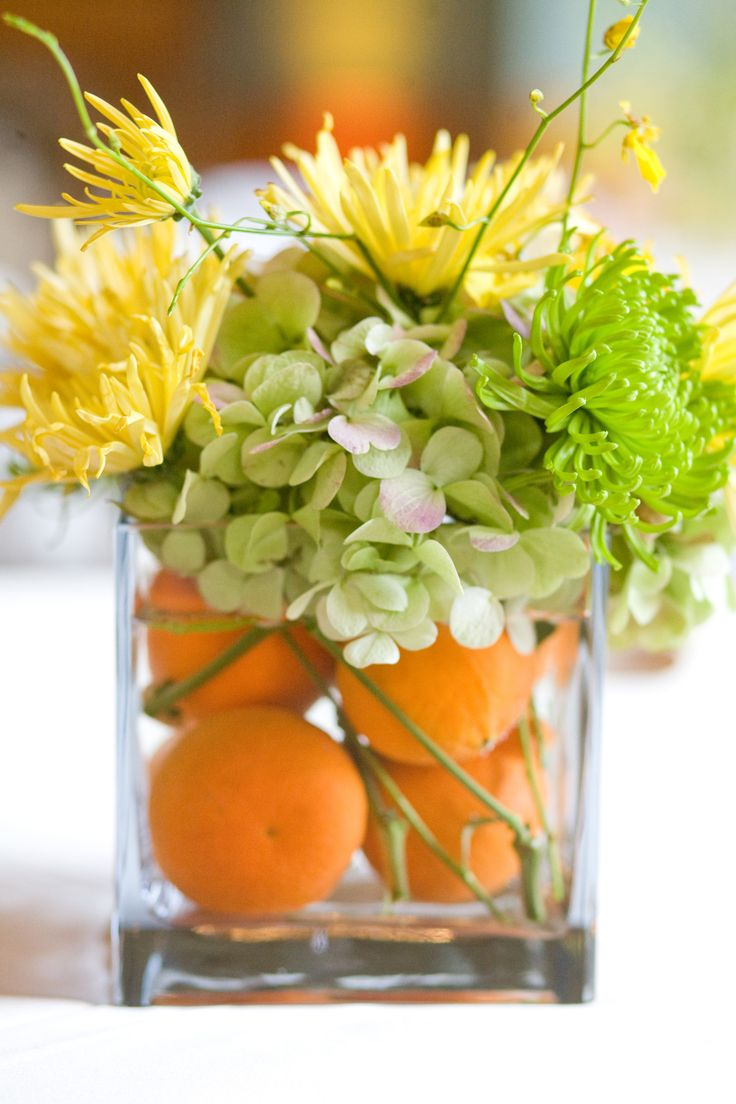 oranges and flowers centerpiece
