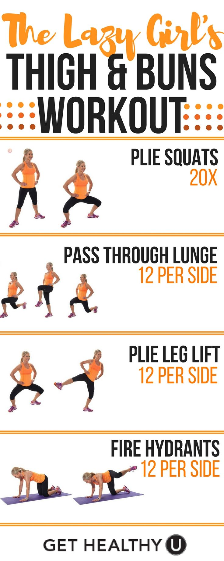 Try 4 rounds of this quick lower body booty and thigh workout in addition to your cardio to lift and firm that toosh! Check out our FREE exercise library for more exercises: http://gethealthyu.com/exercise/ #weightlosstips