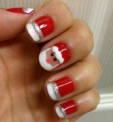 uñas decoradas de Navidad Papá Noel