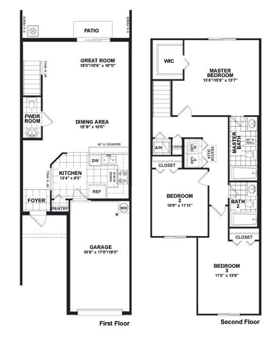 Martins crossing bloxham floor plan townhouse design Townhouse plans with garage