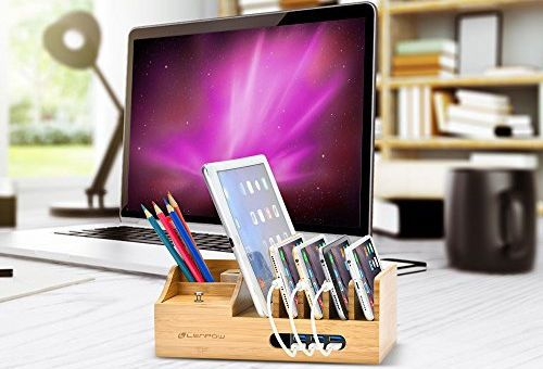 Multi-Device Bamboo Charging Stand