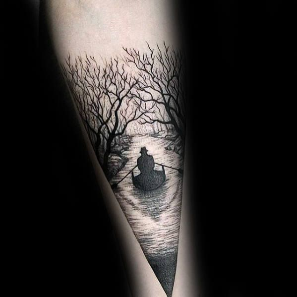 Man In Boat On River With Trees Mens Small Forearm Tattoo