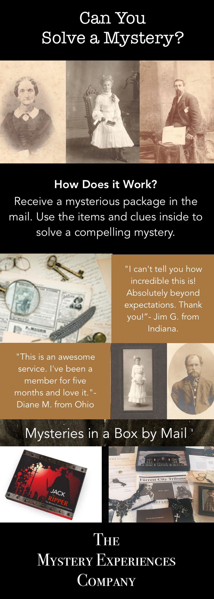 "CAN YOU SOLVE THE MYSTERY? | Our mysteries are created by internationally acclaimed author CHRISTOPHER FORREST. His bestselling novels have been published in the US, Canada, Germany, Greece, Spain, Central America & South America. We also produce mysteries in partnership w/ entertainment companies such as 20th CENTURY FOX for the movie ""MURDER ON THE ORIENT EXPRESS."""