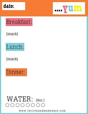 printable food diary log