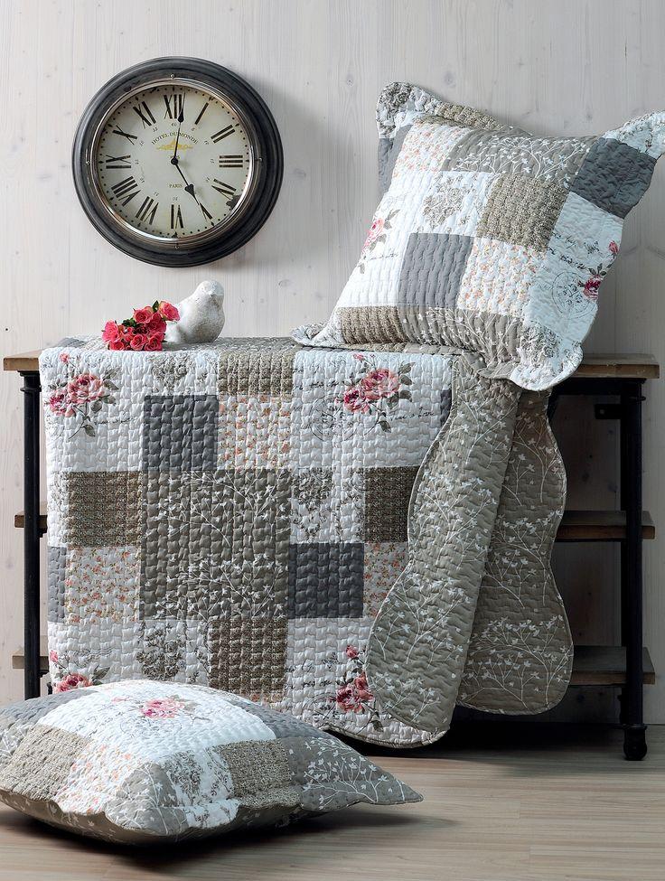 jeté de lit fleurs - kit avec taie carrée