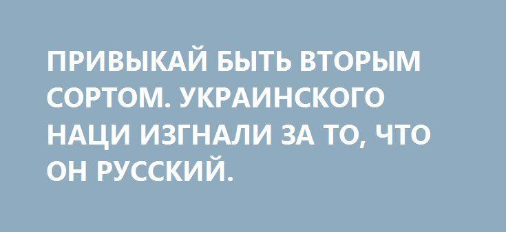 ПРИВЫКАЙ БЫТЬ ВТОРЫМ СОРТОМ. УКРАИНСКОГО НАЦИ ИЗГНАЛИ ЗА ТО, ЧТО ОН РУССКИЙ. http://rusdozor.ru/2017/07/26/privykaj-byt-vtorym-sortom-ukrainskogo-naci-izgnali-za-to-chto-on-russkij/  Ведущий львовского телеканала ZIK, одиозный и эпатажный журналист Остап Дроздов выгнал из студии одиозного же и эпатажного политолога Юрия Романенко — за попытку последнего отвечать на вопросы по-русски.  В сегодняшних обстоятельствах определения «одиозный» и «эпатажный» принято считать уже скорее ...
