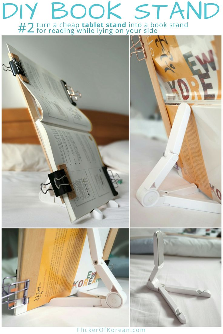 DIY book holder for reading on your side in bed Diy book