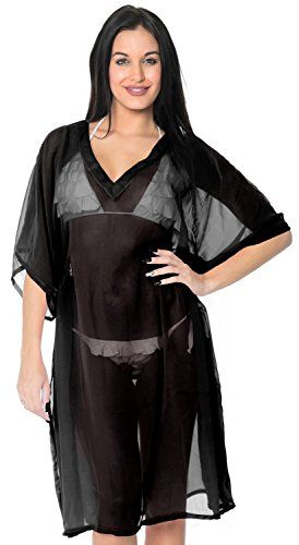 La Leela Swimsuit Lightweight Resort Wear Swimwear Caftan Cover Up Dark Black. Do YOU want COVER UPS in other colors Like Red | Pink | Orange | Violet | Purple | Yellow | Green | Turquoise | Blue | Teal | Black | Grey | White | Maroon | Brown | Mustard | Navy ,Please click on BRAND NAME LA LEELA above TITLE OR Search for LA LEELA in Search Bar of Amazon. ONE SIZE FITS THE MOST : US Size : From Regular 8 (M) TO 14 (L) | UK Size : 12 - 16 | BUST : 40 Inches [101 cms ] ; Length : 32.5 Inches […