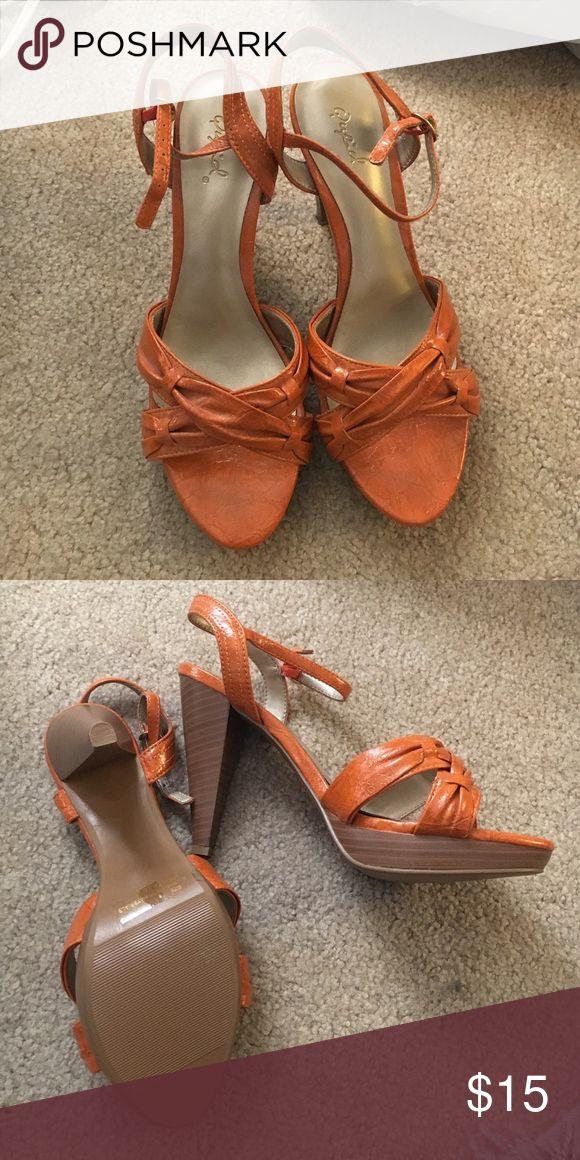 Qupid Orange Strappy Wood Heel 8 Burnt Orange Strappy  Heel. Brand New Condition. 8 Qupid Shoes Heels