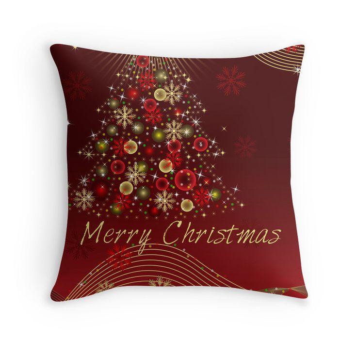 Merry Christmas dark red throw pillow