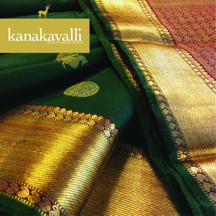 Elegant peacock motifs adorn the ​six​ yards of this beautiful bottle green Kanakavalli kanjivaram. According to legend,​ the​ peacock is a symbol of integrity and the beauty we can achieve when we endeavor to show our true colors​.​ ​The use of this motif on Kanjivaram saris is timeless and ever-appealing.