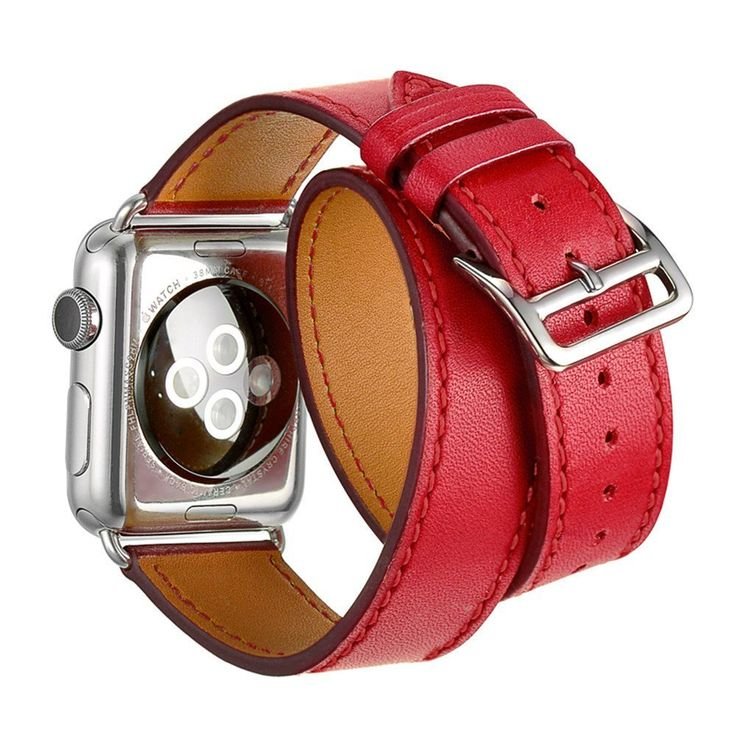 Apple Watch Band, Smarco Luxury Genuine Leather, Double Tour Bracelet Leather Replacement Wrist Watchband for Apple iWatch(Red 38mm)