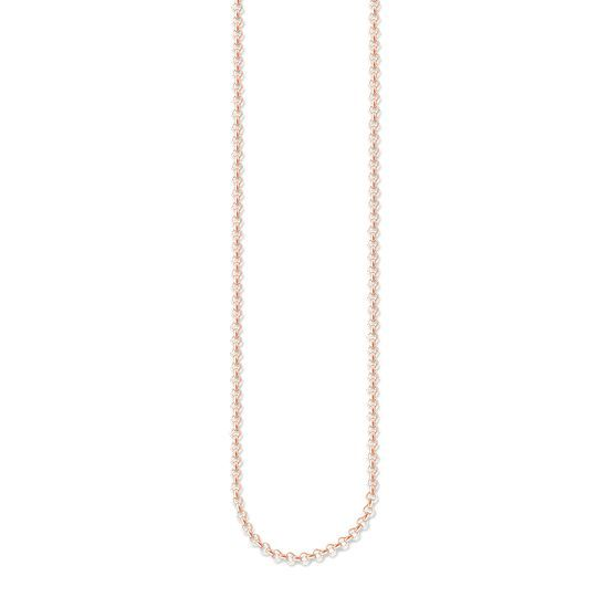 Necklace with spring ring 925 Sterlingsilver; 18K rose gold plated The delicate necklace with 750 rose gold plating (18 carat) is a fabulous foundation for creative jewellery combinations. Width: 0.2 cm