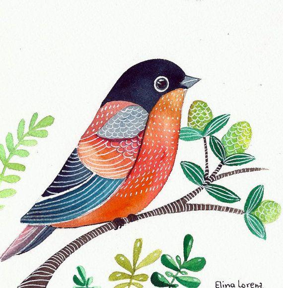Fantasy Art / Colorful Bird Pinting / Original / Organic Watercolor / Bird Art / Room Decor / Wall Art via Etsy