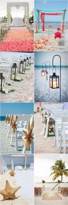beach wedding decor ideas-beach wedding aisles