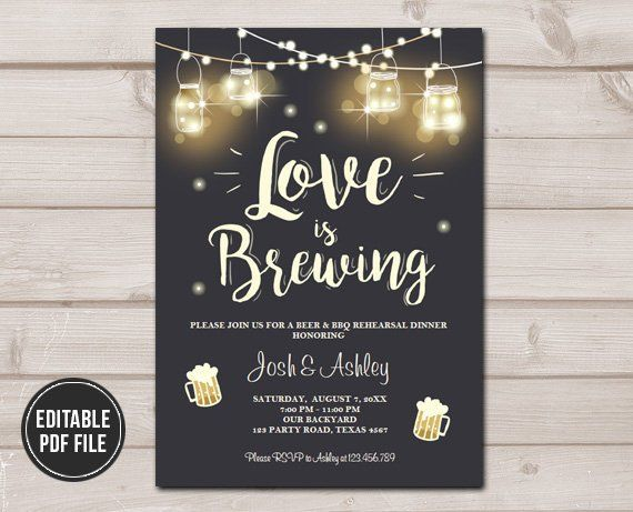 ef846d1a0e3f Love is Brewing Invitation Bridal Shower BBQ Rehearsal Dinner Wedding  Couples Shower Rustic Download Printable Template Editable PDF Digital