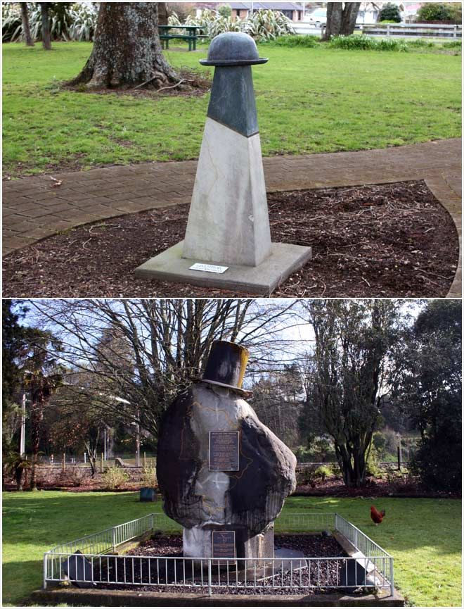 Te Rohe Pōtae Hat Monuments. The top one is in Otorohanga and the lower  one is in Taumarunui North Island New Zealand my home town.