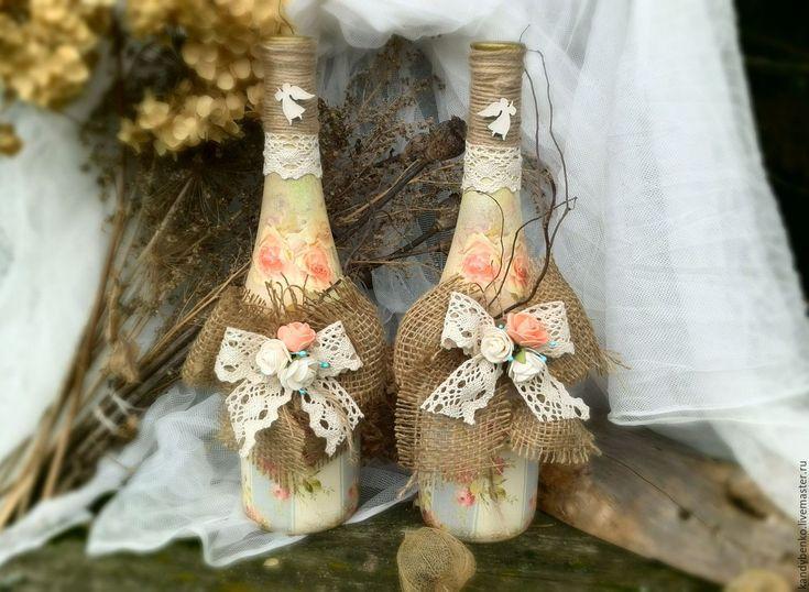 """Купить Свадебный декор бутылки """"Винтаж"""" - комбинированный, свадьба, свадебные аксессуары, свадебный декор"""