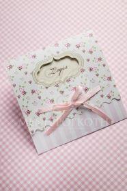 Μένη Ρογκότη - Προσκλητήριο βάπτισης για κορίτσι vintage roses με ροζ σατέν φιογκάκι