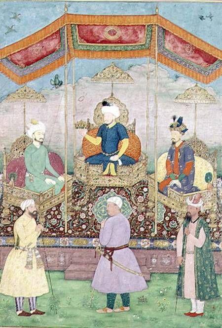 Dip Chand - Mughal Emperor Babur and his son, Humayan, Indian miniature from Rajasthan