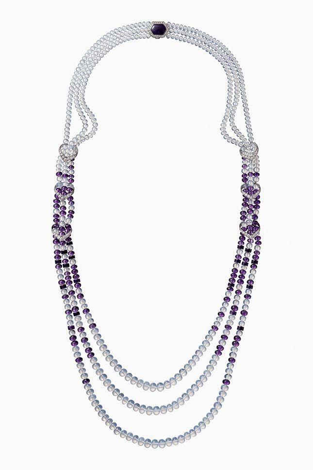 Cartier Collier Platine Boules Amethyste Et Pierres De Lune Diamants Taille Brillant Diy Jewelry Necklace Beads Cartier Jewelry Solitaire Pendant Necklace
