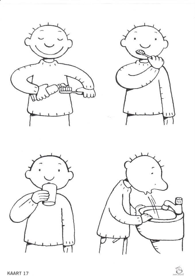 logisch rangschikken 4 prenten Jules poetst zijn tanden