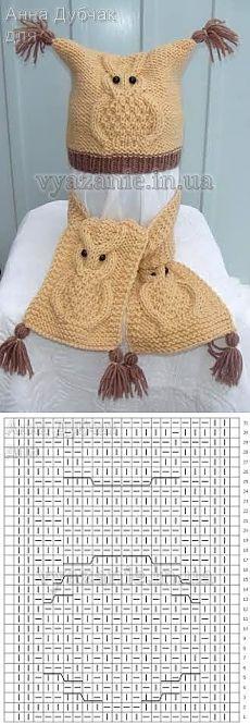 Комплект «Совы» (шапка и шарфик)