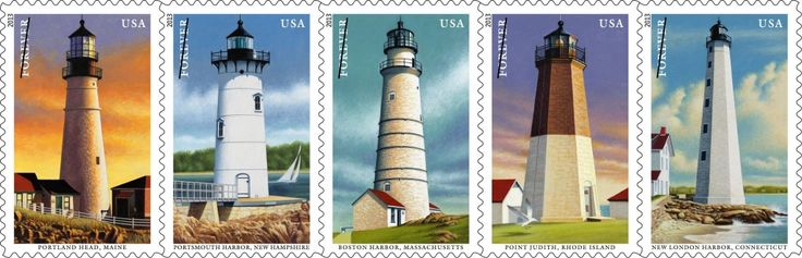 Five lighthouses that for centuries enabled sailors to safely navigate the waters along the northeastern United States stand tall on postage Saturday, July 13, with the issuance of the New England Coastal Lighthouse Forever stamps.