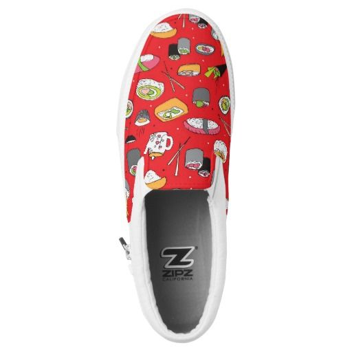 Japanese cuisine sushi roll and maki printed shoes. Looking for something quirky? Check-out these fun, colourful shoes designed with a cute illustration style.
