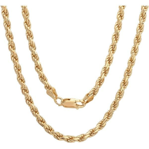 703529418d0eb Sterling Essentials 14k Gold over Silver Diamond-cut Rope Chain ($80 ...