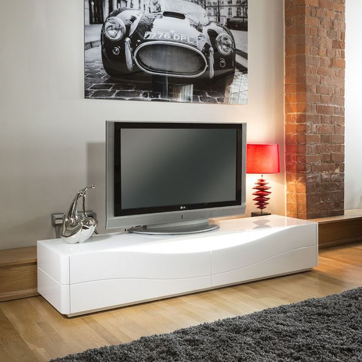 Luxury Modern TV Stand / Cabinet / Unit White Gloss LED Lighting Gual