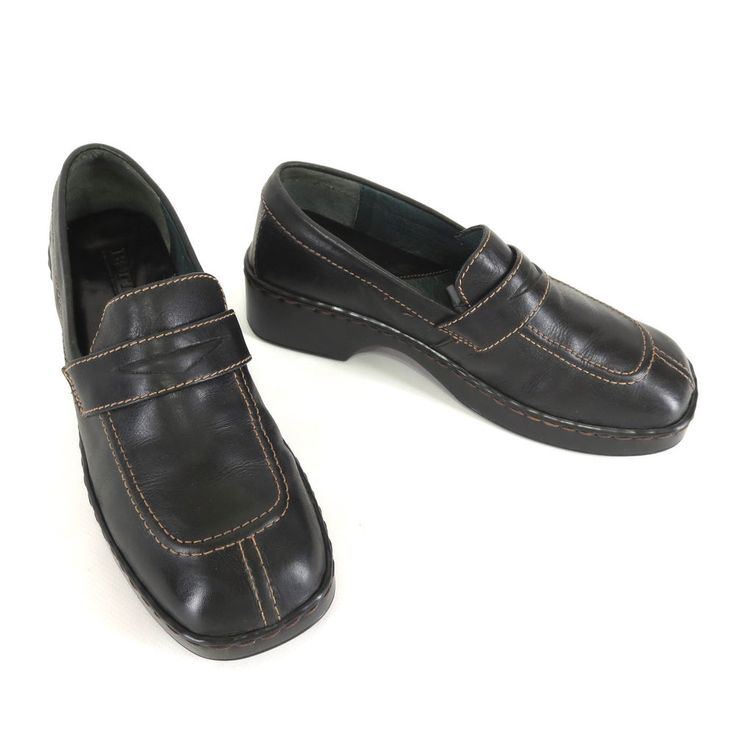 Born 8 Shoes 39 Black Leather Penny Loafer Thick Heel Womens Slip Ons W3252 #Brn #LoafersMoccasins #WeartoWork