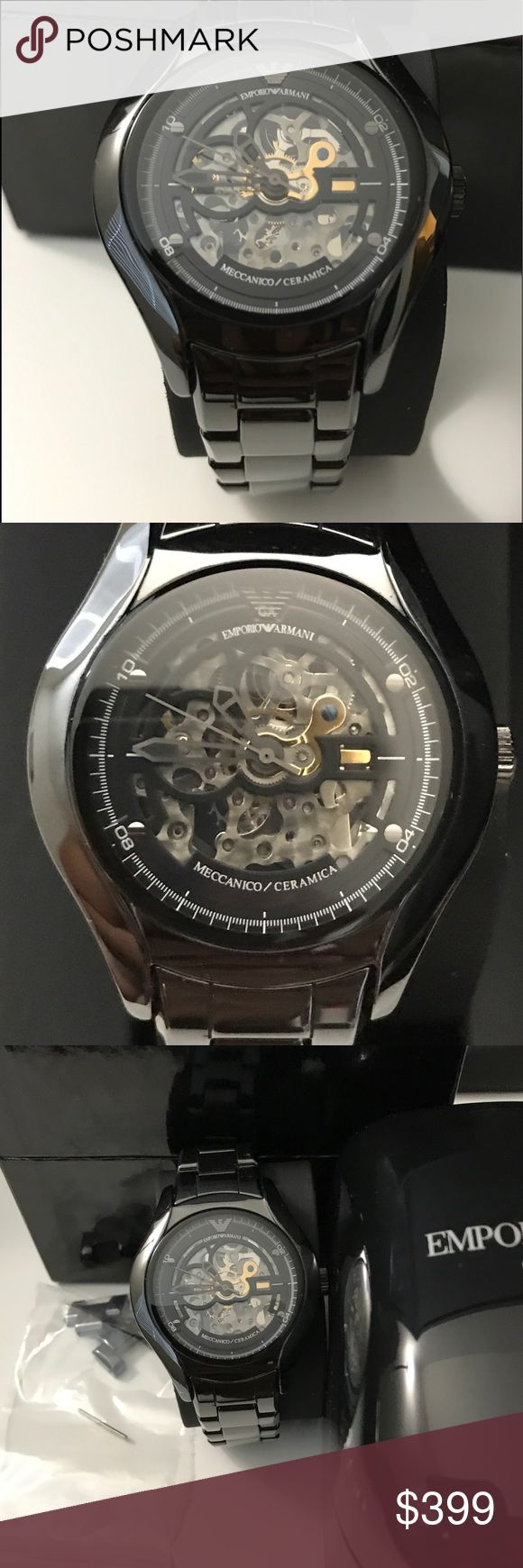 Emporio Armani MECCANICO AR1427 CERAMIC WATCH Original Price $645. BRAND:Emporio Armani SERIES:Meccanico MODEL:AR1427  WATCH LABEL:Made in Italy MOVEMENT:Automatic CASE SIZE:38 mm CASE THICKNESS:10 mm CASE MATERIAL:Black Ceramic with Gunmetal Accents CASE SHAPE:Round CASE BACK:Solid  DIAL TYPE:Analog DIAL COLOR:Skeleton CRYSTAL:Mineral HANDS:Black-tone SECOND MARKERS:Minute markers around the outer rim. The Emporio Eagle appears at the 12 o'clock position BEZEL:Fixed Black Ceramic  BAND…
