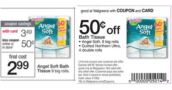 Angel-Soft-Bath-Tissue-cupon-del-shopper Angel Soft Bath Tissue a $0.28 por rollo en Walgreens empezando 3-13