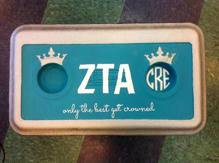 little's initials on the left, big's initials on the right #ZLAM #cooler #little #big #sorority #ZTA