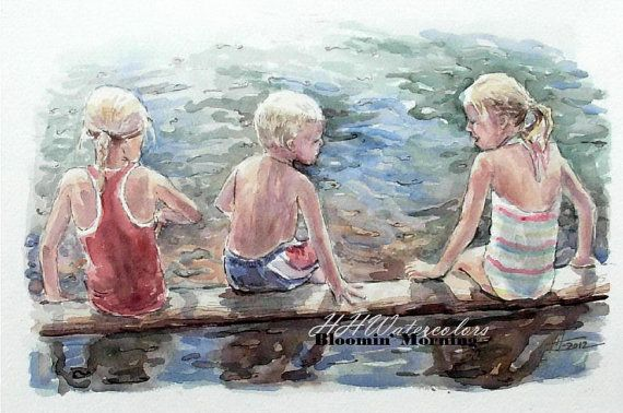 Custom Watercolor Group Portrait from your photo by BloominMorning