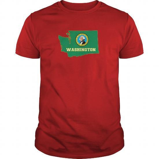 Cool Washington Silhouette Flag With Name Shirts & Tees