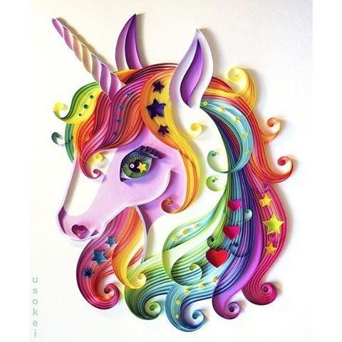 Beautiful unicorn Repost @usokei #quilling #unicorn #rainbow #stars #heart…