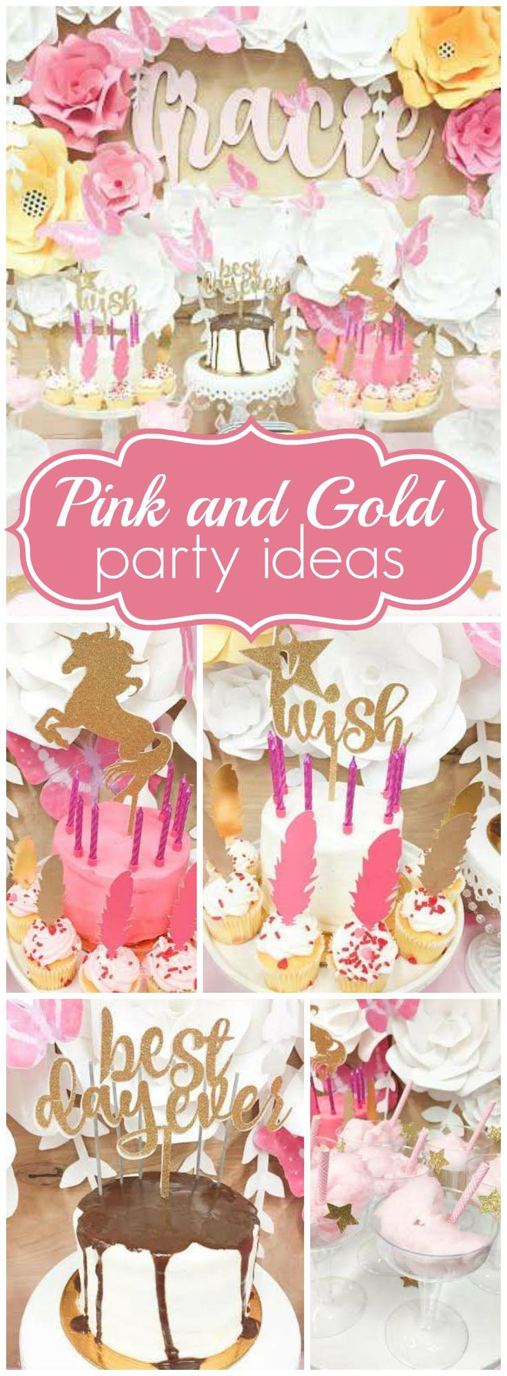 Love this elaborate pink and gold girl birthday party!