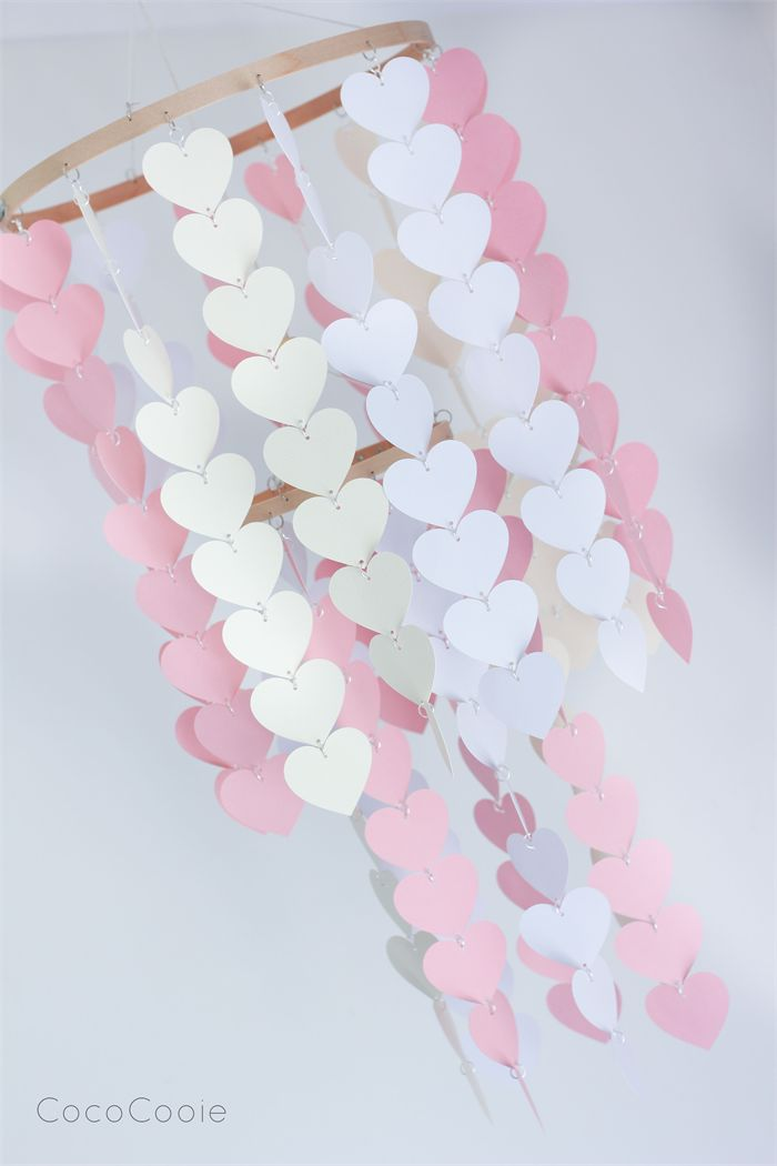 Pink, White & Cream Heart Mobile - CUSTOM ORDERED | CocoCooie | Madeit