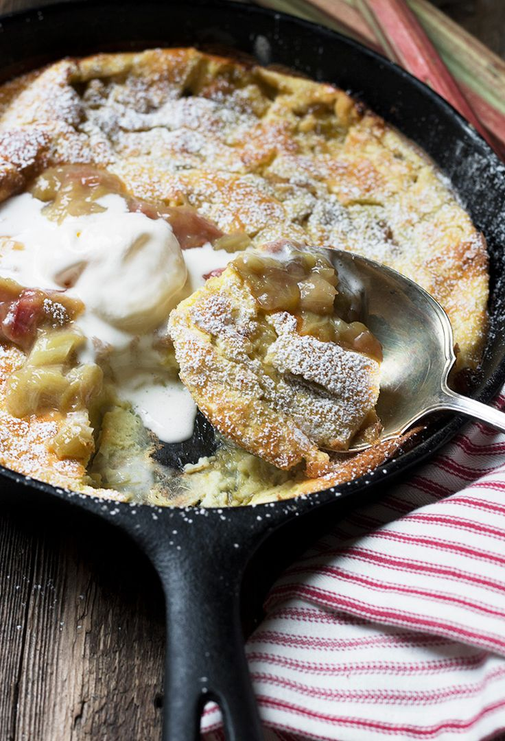 Rhubarb Dutch Baby - easy and delicious. Can be made with fresh or frozen rhubarb!